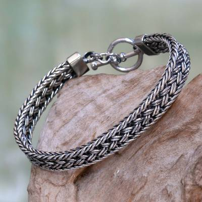 Men's sterling silver bracelet, 'Pakerisan' - Toggle Clasp Balinese Sterling Silver Men's Bracelet