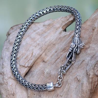 Sterling Silver Wheat Chain Bracelet With Dragon Head