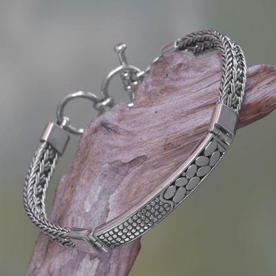 Sterling silver pendant bracelet, 'Tukad Unda' - Artisan Crafted 925 Sterling Silver Bracelet NOVICA Bali