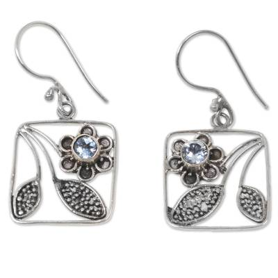 Handcrafted Indonesian Silver Blue Topaz Dangle Earrings