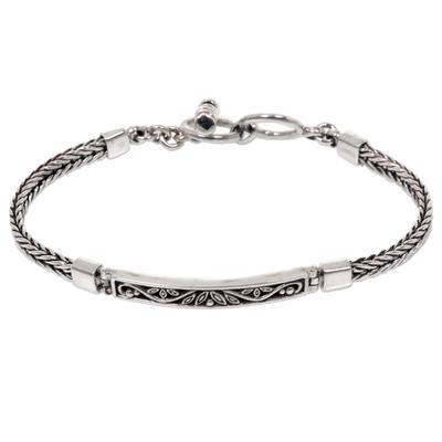 Unique Braided Sterling Silver Floral Balinese Pendant Bracelet