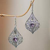 Amethyst dangle earrings, 'Shine On' - Traditional Indonesian Style Filligree Sterling Sliver and P