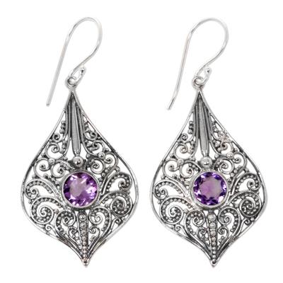 Amethyst dangle earrings, 'Shine On' - Balinese Style Amethyst and Sterling Silver Dangle Earrings