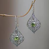 Peridot dangle earrings, 'Shine On' - Lacy Sterling Silver Dangle Earrings with Peridot Gems