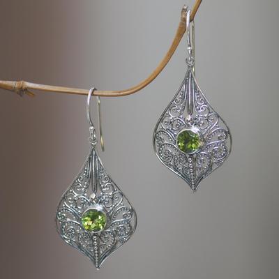 Peridot dangle earrings, 'Shine On' - Lacy Sterling Silver Dangle Earrings with Peridot Gems