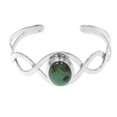 Sterling silver cuff bracelet, 'DNA' - Sterling Silver and Reconstituted Turquoise Cuff Bracelet