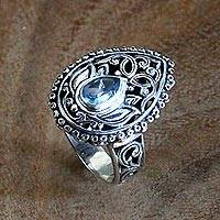 Blue topaz cocktail ring, 'Lotus Spirit' - Blue Topaz and Sterling Silver Balinese Style Cocktail Ring