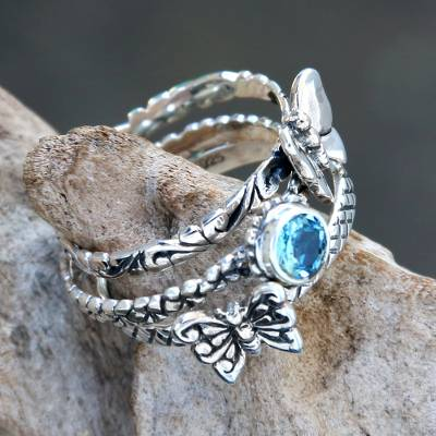 Blue topaz and sterling silver stacking rings, 'Butterfly Shrine' (set of 3) - Set of 3 Stacking Silver Butterfly Rings with Blue Topaz