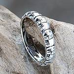 Elephant Themed Band Ring Crafted from Sterling Silver, 'Elephant Trek'