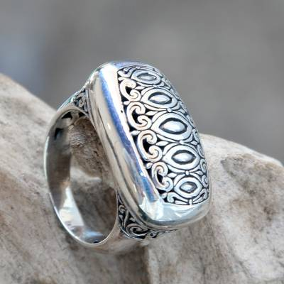 Artisan Crafted Sterling Silver Engraved Signet Ring