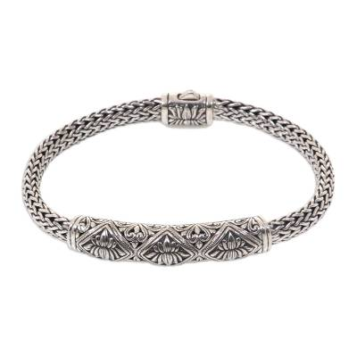 Handcrafted Braided Chain Sterling Silver Lotus Pendant Bracelet