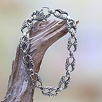 Sterling silver link bracelet, 'Fern Connection' - Hand Engraved Sterling Silver Link Bracelet from Bali