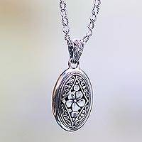 Sterling silver pendant necklace, 'Hibiscus Gate' - Sterling Silver Pendant necklace with Hibiscus Flower Motif