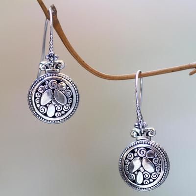 Sterling silver dangle earrings, 'River Stones' - Sterling Silver Hook Earrings with River Stone Motif