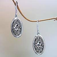 Sterling silver dangle earrings, 'Hibiscus Gate' - Sterling Silver Dangle Earrings with Hibiscus Flower Motif