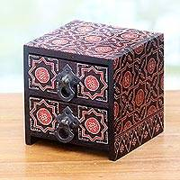 Wood jewelry chest, 'Ceplok Wonosari II' - Small Wood Jewelry Chest with Hand Painted Batik Designs
