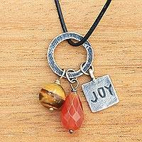 Carnelian and tiger's eye pendant necklace, 'Joy Glistens' - Inspirational Jewelry Joy Necklace with Gems and 925 Silver