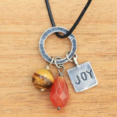 Carnelian and tiger's eye pendant necklace, 'Joy Glistens' - Inspirational jewellery Joy Necklace with Gems and 925 Silve