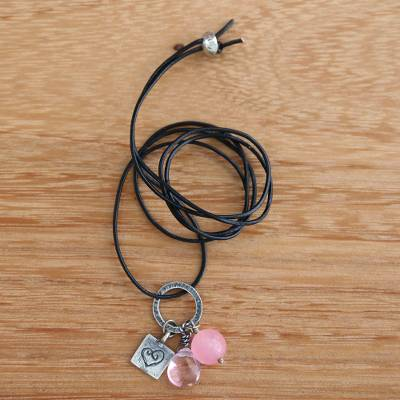Rose quartz heart necklace, 'Inspiring Heart' - Silver Heart with Rose Quartz on Artisan Crafted Necklace