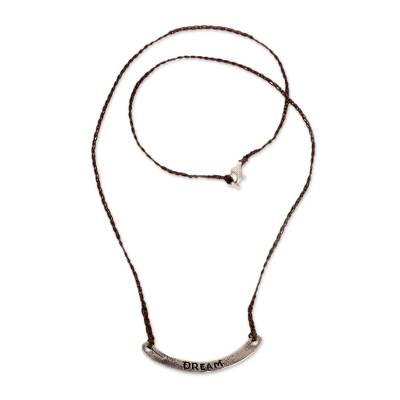Sterling silver bar necklace, 'Dream in Brown' - Hand Crafted Brown Cord Necklace with Sterling Silver Bar