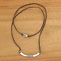 Sterling silver bar necklace, 'Love in Brown' - Love Inspirational Jewelry 925 Silver Brown Cord Necklace