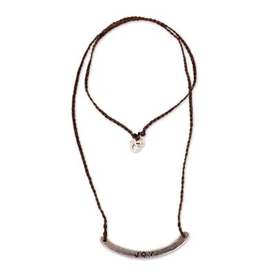 Sterling silver bar necklace, 'Joy in Brown' - Joy Inspirational Jewelry 925 Silver on Brown Cord Necklace