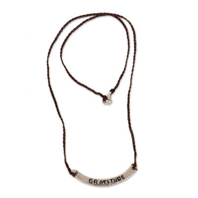 Sterling silver bar necklace, 'Gratitude in Brown' - Inspirational Jewelry Gratitude Brown Necklace 925 Silver