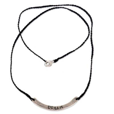 Sterling silver bar necklace, 'Dream in Black' - Hand Crafted Black Cord Necklace with Sterling Silver Bar