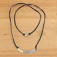 Sterling silver bar necklace, 'Love in Black' - Love Inspirational Jewelry 925 Silver Black Cord Necklace