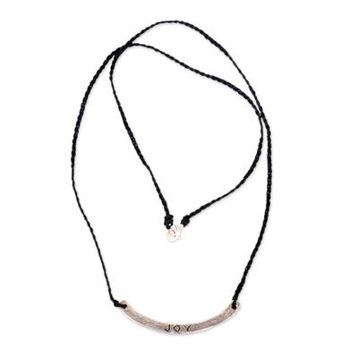 Sterling silver bar necklace, 'Joy in Black' - Joy Inspirational Jewelry 925 Silver on Black Cord Necklace