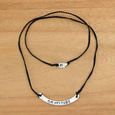 Sterling silver bar necklace, 'Gratitude in Black' - Inspirational Jewelry Gratitude Black Necklace 925 Silver