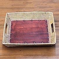 Mahogany wood tray, 'Lombok Classic' - Hand Crafted Tray with Mahogany and Ate Grass from Bali