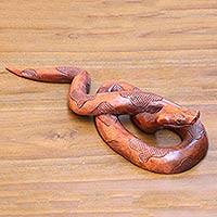 Wood sculpture, 'Sanca' - Hand Crafted Wood Python Sculpture by Balinese Artisan