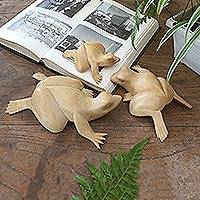 Wood sculptures, 'Frog Family' (set of 3) - Artisan Crafted Natural Wood Sculptures of Frogs (Set of 3)