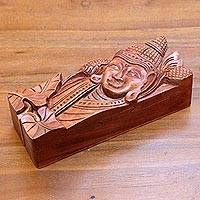 Wood puzzle box, 'Buddha Garden' - Smiling Buddha on Hand Carved 9-Inch Wood Puzzle Box