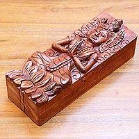 Wood puzzle box, 'Goddess Sri' - Hindu Goddess on Hand Carved 9-Inch Wood Puzzle Box