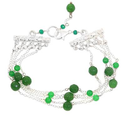 Green Quartz Bead and Sterling Silver Multi-Strand Bracelet