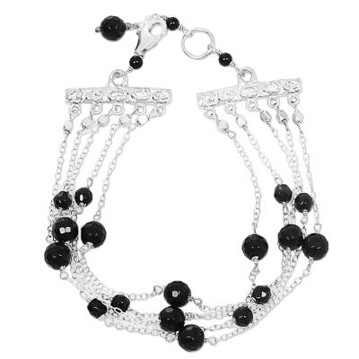 Onyx and Sterling Silver Five Strand Station Bracelet