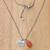 Carnelian and cultured pearl pendant necklace, 'Inspiring Love' - 925 Silver and Carnelian Necklace Love Themed Jewelry thumbail