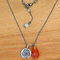 Carnelian flower necklace, 'Inspiring Sunflower' - Carnelian and Silver Sunflower Pendants on Handmade Necklace