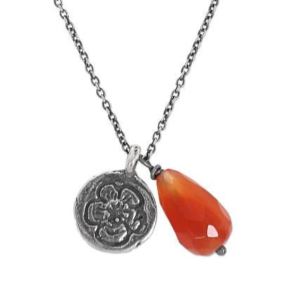 Carnelian and Silver Sunflower Pendants on Handmade Necklace