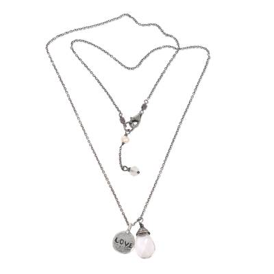 Quartz and cultured pearl pendant necklace, 'Inspiring Love' - Sterling Silver Inspirational Love Necklace with Quartz