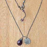 Amethyst flower necklace, 'Inspiring Lotus' - Sterling Silver Buddhism Flower Necklace with Amethyst