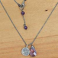 Amethyst pendant necklace, 'Inspiring Banyan Tree' - Sterling Silver Buddhism Banyan Tree Necklace with Amethyst