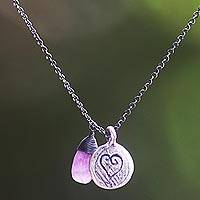 Amethyst heart necklace, 'Inspiring Heart' - Amethyst and 925 Sterling Silver Necklace Heart Jewelry