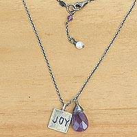 Amethyst and cultured pearl pendant necklace, 'Inspiring Joy' - 925 Silver Joy Inspirational Amethyst and Pearl Necklace