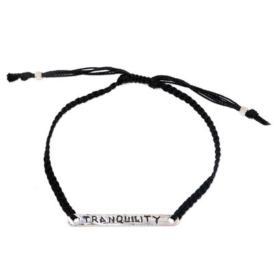 Sterling silver bar bracelet, 'Tranquility in Black' - Inspirational Hand Crafted Tranquility Silver Bar Bracelet