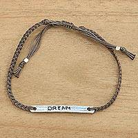 Sterling silver bar bracelet, 'Dream in Brown' - Brown Cord Wristband Bracelet with Sterling Silver Dream Bar