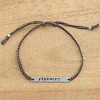 Sterling silver bar bracelet, 'Serenity in Brown' - Silver Serenity Inspirational Braided Bracelet from Bali
