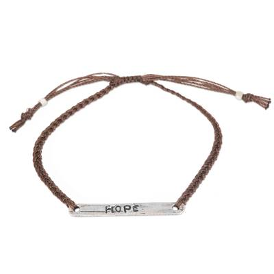 Sterling silver bar bracelet, 'Hope in Brown' - Hope Inspirational Jewelry Artisan Crafted Bracelet